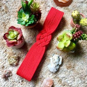 {Vintage} Bright Red Velcro Weaved Waist Belt